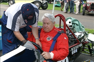 David Good, with son James, in his Championship-winning Cooper-JAP at the 60th Cooper Anniversary meeting at Prescott in 2006