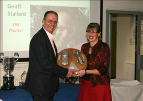 Geoff Stallard receives the HSA trophy from SBD's Kim Broughton
